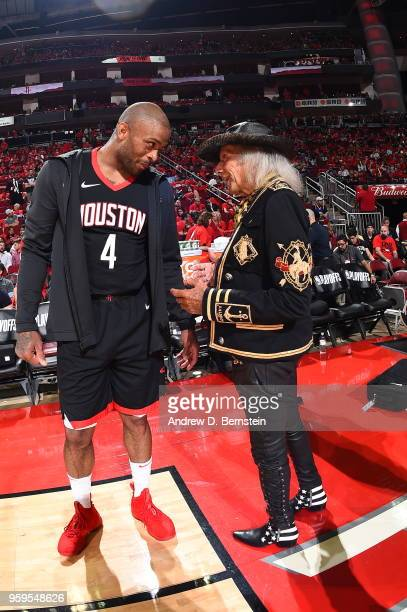 Tucker of the Houston Rockets speaks to James Goldstein before Game Two of the Western Conference Finals against the Golden State Warriors during the...
