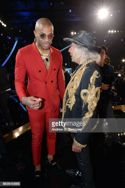 Tucker of the Houston Rockets speaks to James Goldstein during the 2018 NBA Awards Show on June 25 2018 at The Barkar Hangar in Santa Monica...