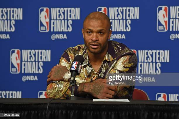 Tucker of the Houston Rockets speaks with the media after the game aGolden State Warriors in Game Two of the Western Conference Finals of the 2018...