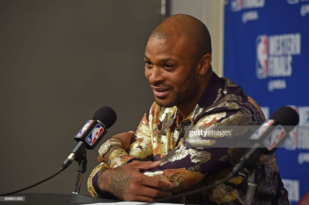 PJ Tucker #4 of the Houston Rockets speaks with the media after the game against the Golden State Warriors in Game Two of the Western Conference Finals of the 2018 NBA Playoffs on May 16, 2018 at the Toyota Center in Houston, Texas.