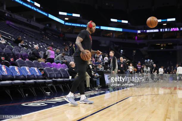 Tucker of the Houston Rockets warms up prior to the game against the Minnesota Timberwolves on February 13 2019 at Target Center in Minneapolis...