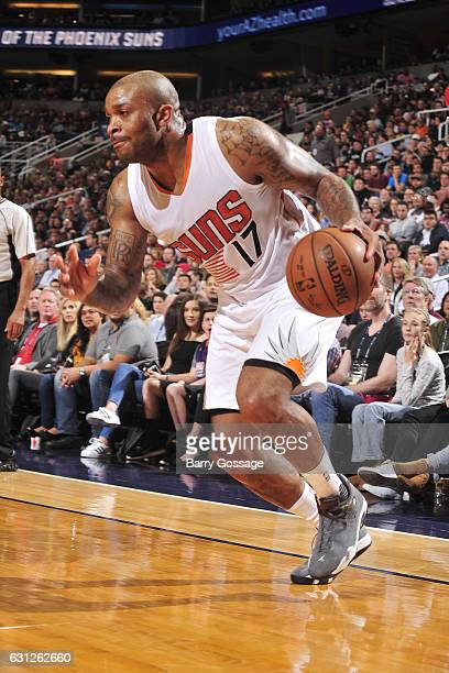 J Tucker of the Phoenix Suns drives to the basket against the Cleveland Cavaliers on January 8 2017 at Talking Stick Resort Arena in Phoenix Arizona...