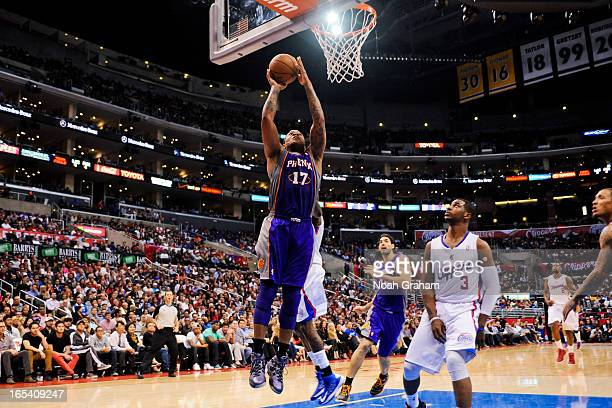 J Tucker of the Phoenix Suns drives to the basket against the Los Angeles Clippers at Staples Center on April 3 2013 in Los Angeles California NOTE...