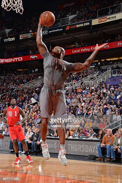 J Tucker of the Phoenix Suns grabs a rebound against the Los Angeles Clippers at Talking Stick Resort Arena on November 12 2015 in Phoenix Arizona...