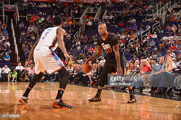 J Tucker of the Phoenix Suns handles the ball against the Oklahoma City Thunder on March 6 2014 at US Airways Center in Phoenix Arizona NOTE TO USER...