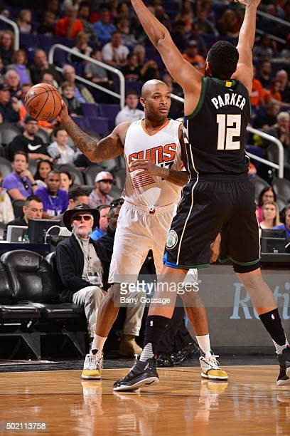J Tucker of the Phoenix Suns handles the ball during the game against the Milwaukee Bucks on December 20 2015 at US Airways Center in Phoenix Arizona...