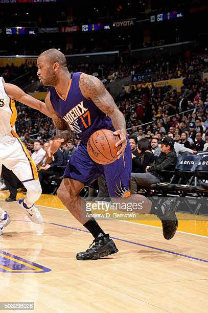 J Tucker of the Phoenix Suns handles the ball during the game against the Los Angeles Lakers on January 3 2016 at STAPLES Center in Los Angeles...