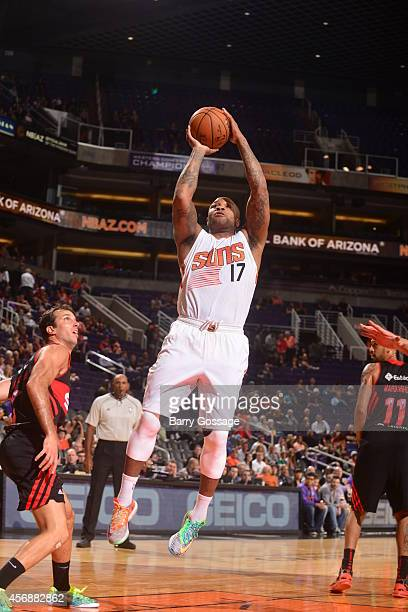 J Tucker of the Phoenix Suns shoots against Flamengo during a preseason game on October 8 2014 at US Airways Center in Phoenix Arizona NOTE TO USER...