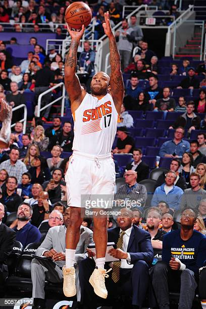 J Tucker of the Phoenix Suns shoots against the Indiana Pacers on January 19 at Talking Stick Resort Arena in Phoenix Arizona NOTE TO USER User...