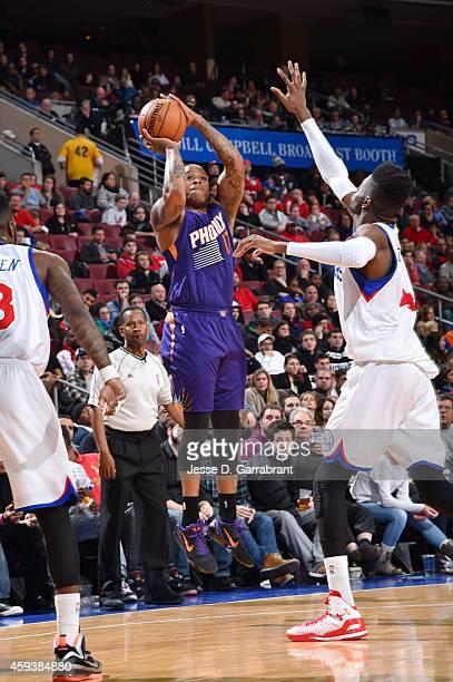 J Tucker of the Phoenix Suns shoots against the Philadelphia 76ersduring the game on November 21 2014 at Wells Fargo Center in Philadelphia...