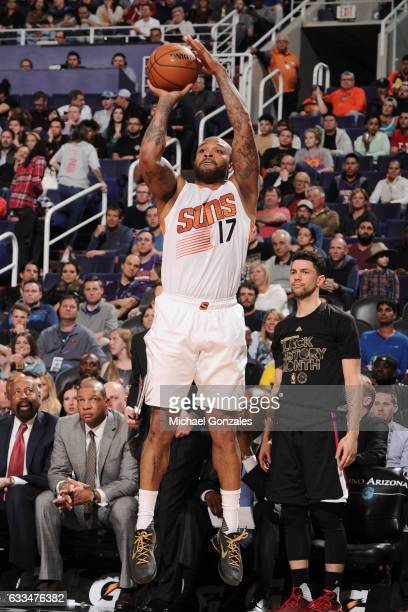 J Tucker of the Phoenix Suns shoots the ball against the LA Clippers on February 1 2017 at Talking Stick Resort Arena in Phoenix Arizona NOTE TO USER...