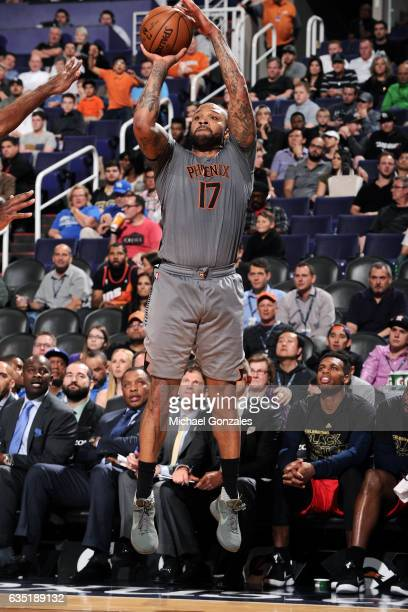 J Tucker of the Phoenix Suns shoots the ball during the game against the New Orleans Pelicans on February 13 2017 at US Airways Center in Phoenix...