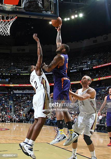 J Tucker of the Phoenix Suns takes a shot against the New Orleans Pelicans on April 9 2014 at the Smoothie King Center in New Orleans Louisiana NOTE...