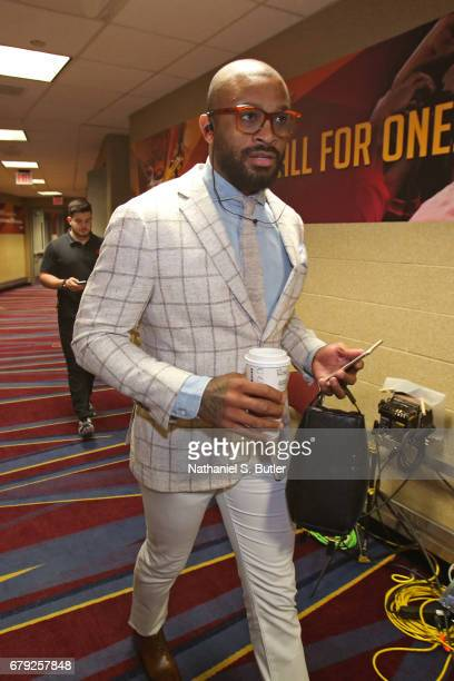 J Tucker of the Toronto Raptors arrives at the arena before Game Two of the Eastern Conference Semifinals against the Cleveland Cavaliers during the...