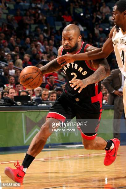 Tucker of the Toronto Raptors handles the ball during the game against the New Orleans Pelicans on March 8 2017 at the Smoothie King Center in New...