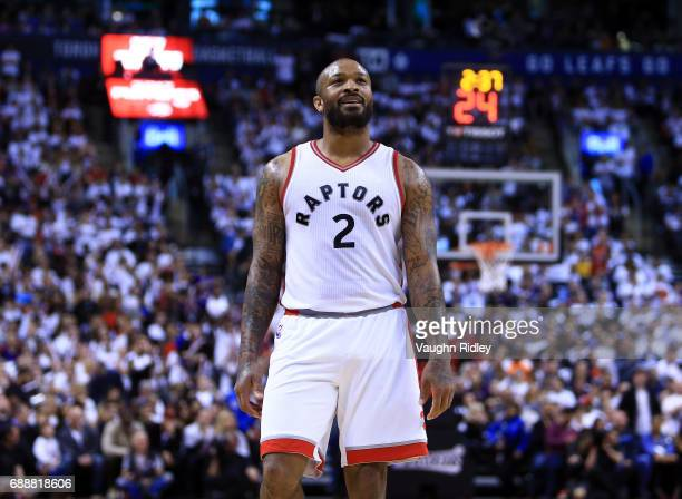J Tucker of the Toronto Raptors looks on in the second half of Game Four of the Eastern Conference Semifinals against the Cleveland Cavaliers during...