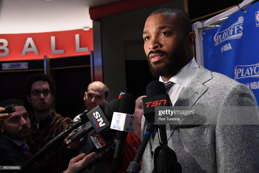 P.J. Tucker #2 of the Toronto Raptors talks with media before the game against the Milwaukee Bucks in Round One of the Eastern Conference Playoffs during the 2017 NBA Playoffs on April 15, 2017 at the Air Canada Centre in Toronto, Ontario, Canada.