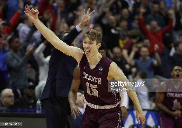 Tucker Richardson of the Colgate Raiders reacts during the second half against the Tennessee Volunteers in the first round of the 2019 NCAA Men's...