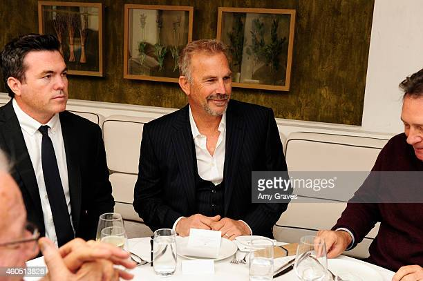 Tucker Tooley and Kevin Costner attend a special luncheon for Kevin Costner and Mike Binder hosted by Colleen Camp for the film BLACK OR WHITE at Fig...