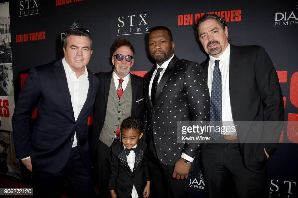 Tucker Tooley Mark Canton Sire Jackson 50 Cent and Christian Gudegast attend the premiere of STX Films' Den of Thieves at Regal LA Live Stadium 14 on...
