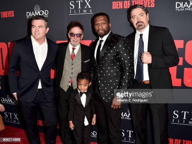 Tucker Tooley Mark Canton Sire Jackson 50 Cent and Christian Gudegast attend the premiere of STX Films' 'Den of Thieves' at Regal LA Live Stadium 14...