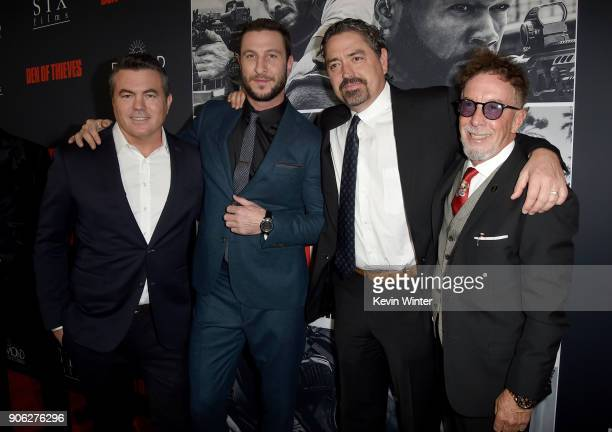 Tucker Tooley Pablo Schreiber Christian Gudegast and Mark Canton attend the premiere of STX Films' Den of Thieves at Regal LA Live Stadium 14 on...