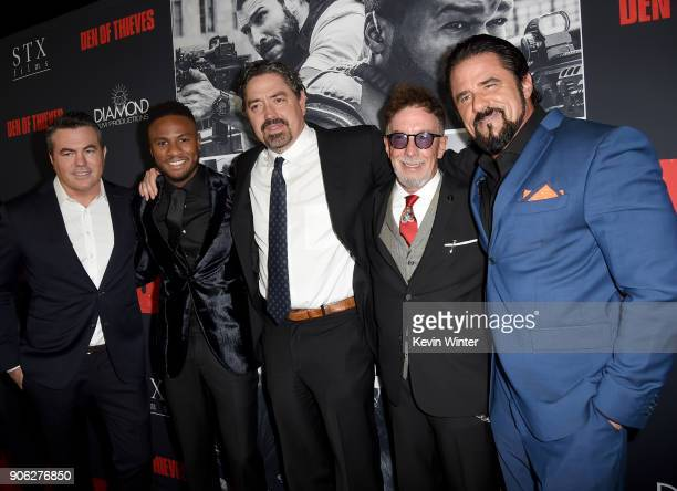 Tucker Tooley Ron J Rock Christian Gudegast Mark Canton and Marcus LaVoi attend the premiere of STX Films' Den of Thieves at Regal LA Live Stadium 14...