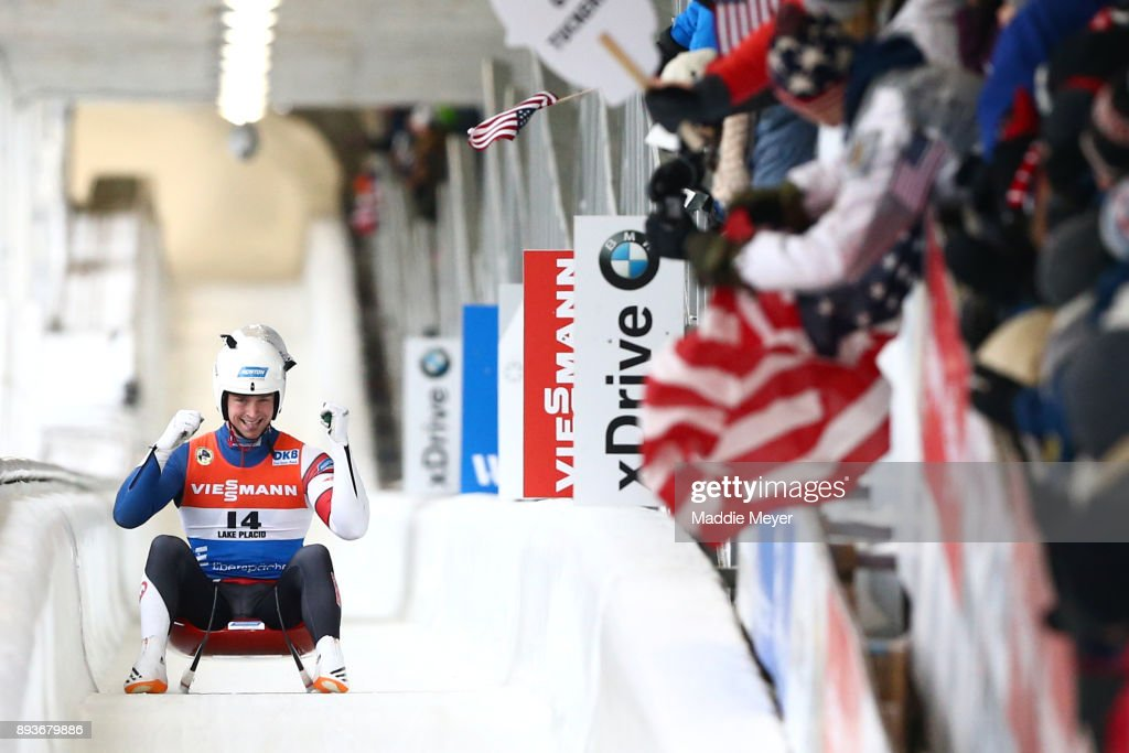 Tucker West of the United States completes his second run in the Men's competition of the Viessmann FIL Luge World Cup at Lake Placid Olympic Center on December 15, 2017 in Lake Placid, New York.