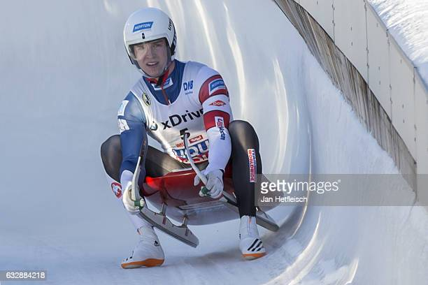 Tucker West of the United States reacts after his run in the Sprint Men Final of the FIL-Sprint World Championships at Olympiabobbahn Igls on January...