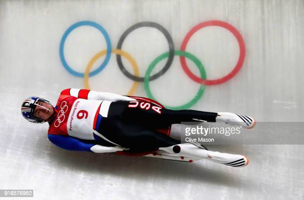 Tucker West of the United States slides during the Men's Singles Luge on day one of the PyeongChang 2018 Winter Olympic Games at Olympic Sliding...
