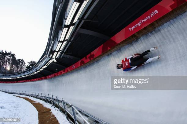 Tucker West of the United States slides in a training session for the Men's Luge during previews ahead of the PyeongChang 2018 Winter Olympic Games...