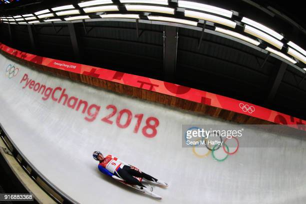 Tucker West of the United States slides in run 3 during the Luge Men's Singles on day two of the PyeongChang 2018 Winter Olympic Games at Olympic...