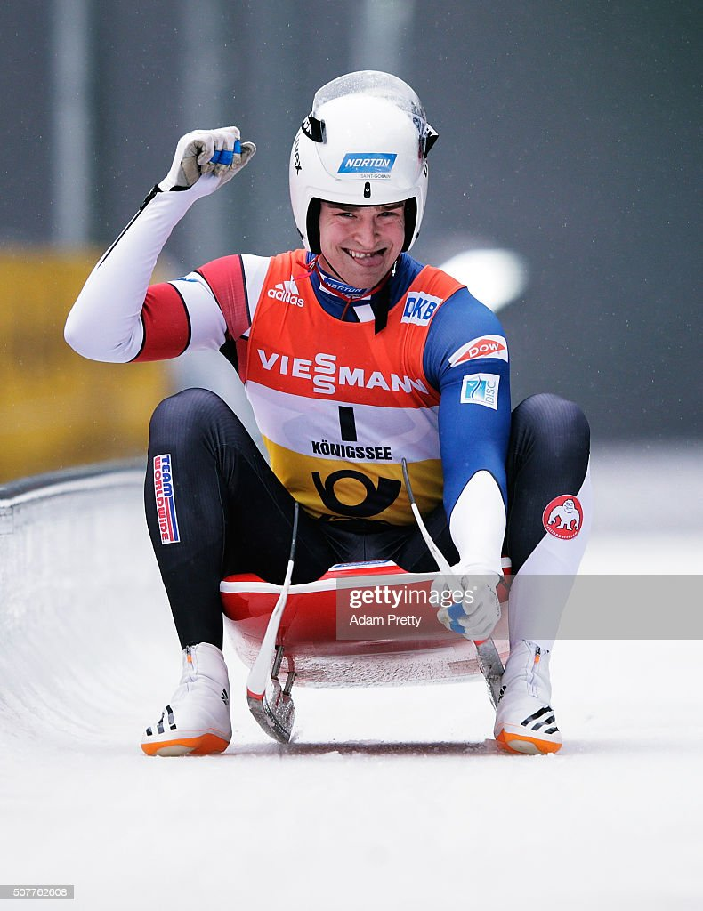 Tucker West of the USA celebrates victory in the under 23 World Championship in the Men's Luge during Day 2 of the Luge World Championships at Deutsche Post Eisarena Koenigssee on January 31, 2016 in Koenigssee, Germany.