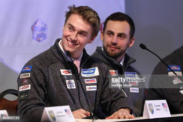 Tucker West speaks to fans during the Ice Ball to honor the nominees to the USA Olympic team at the Conference Center at Lake Placid on December 16...