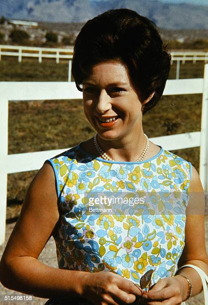 Tucson, Arizona. Closeup of Princess Margaret, November 14th, at the Lewis Douglas Ranch near Tucson where the Princess visited with her husband,...