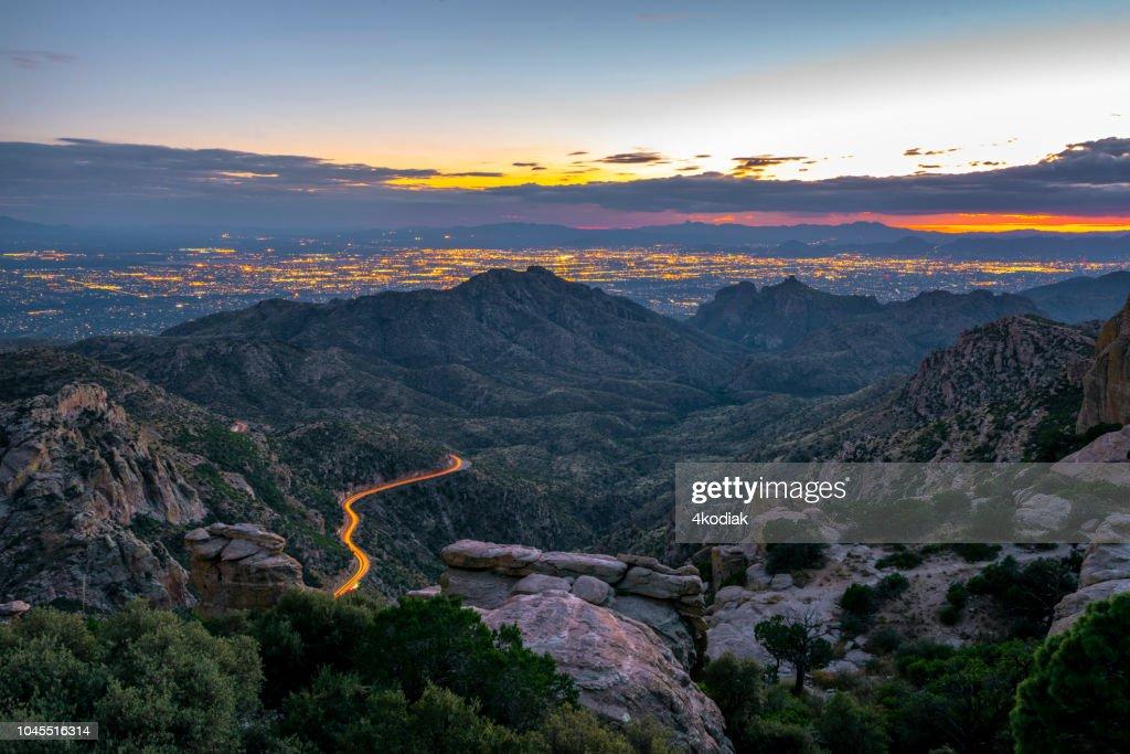 Tucson  Arizona looking from Mt Lemmon after sunset : Stock Photo