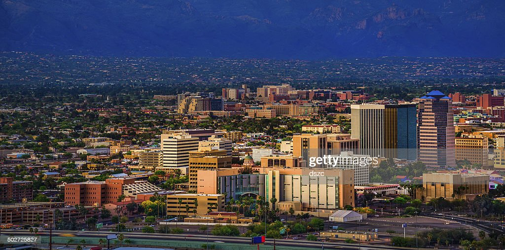 Tucson Arizona panoramic cityscape and Santa Catalina Mountains at sunset : Stock Photo