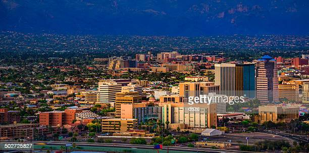 Tucson Arizona panoramic cityscape and Santa Catalina Mountains at sunset