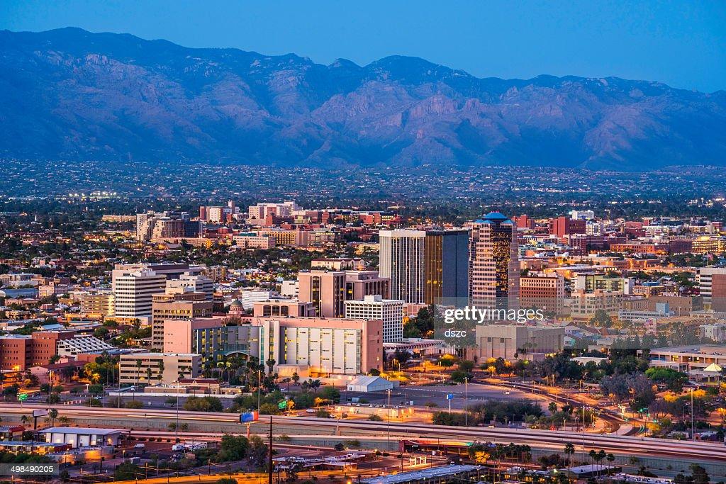 Tucson Arizona skyline cityscape and Santa Catalina Mountains at dusk : Stock Photo