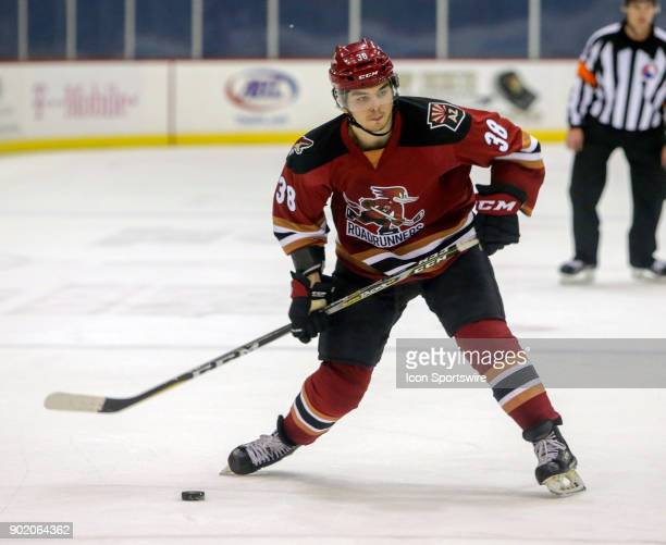 Tucson Roadrunners right wing Nick Merkley shoots the puck during a hockey game between the Ontario Reign and Tuscon Roadrunners on January 06 at...