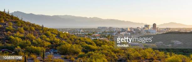 tucson skyline - mt lemmon stock photos and pictures