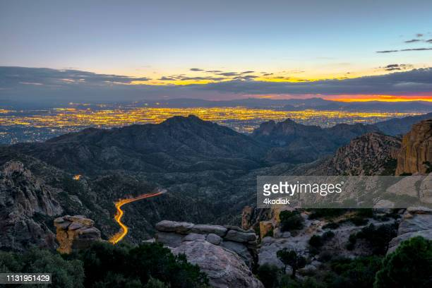 tucson,arizona looking from mt lemmon in the evening hour - saguaro cactus stock pictures, royalty-free photos & images