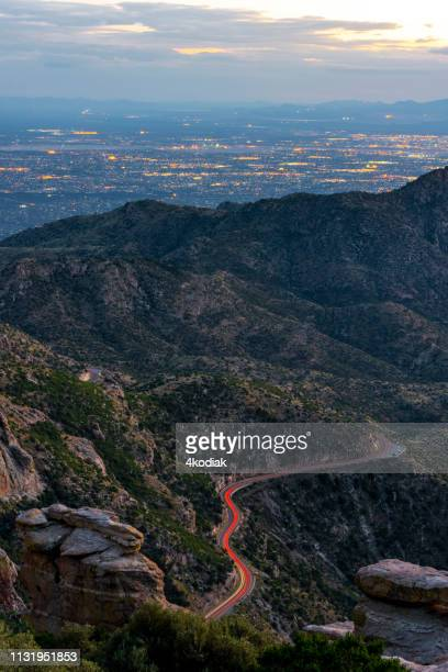 tucson,arizona looking from mt lemmon in the evening hour - mt lemmon stock photos and pictures