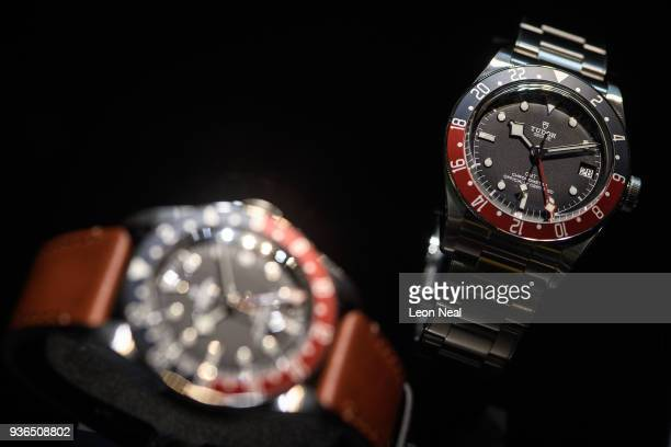 Tudor Black Bay GMT is seen at the BaselWorld watch fair on March 22 2018 in Basel Switzerland The annual watch trade fair sees the very latest...