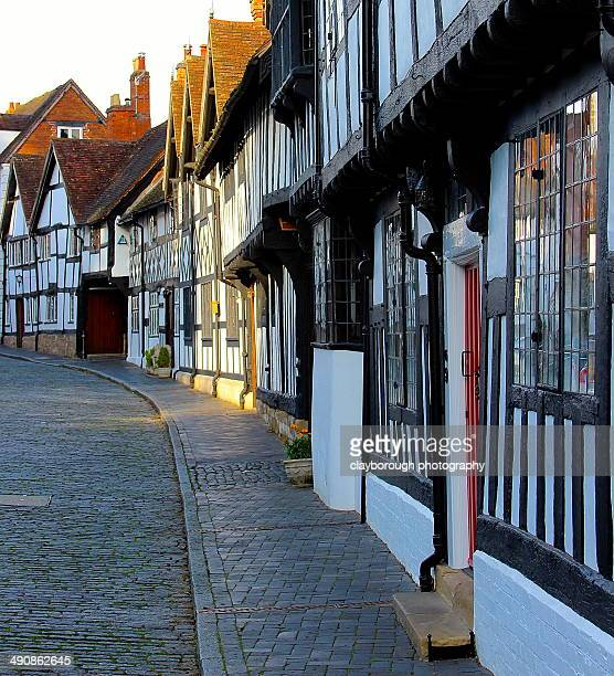tudor buildings - warwick uk stock photos and pictures