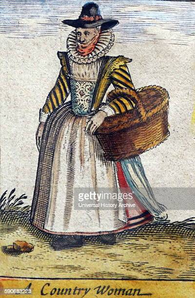 Tudor country woman with basket from a map of England and wales by John Speed C1612