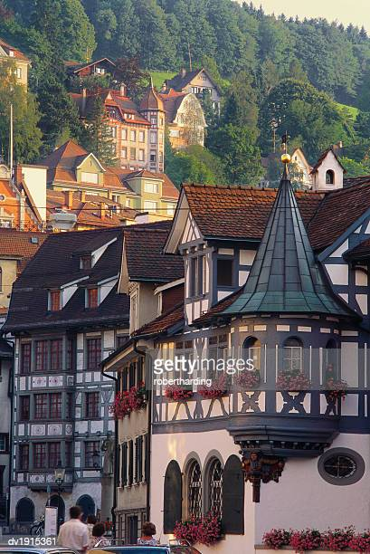 Tudor Exterior of Buildings in Town of St Gallen in Switzerland