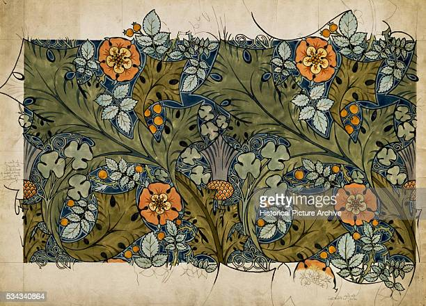 'Tudor Roses Thistles and Shamrock Design by Charles Annesley Voysey '