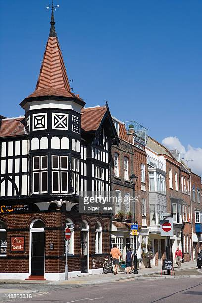 tudor style building in old portsmouth. - portsmouth england stock pictures, royalty-free photos & images