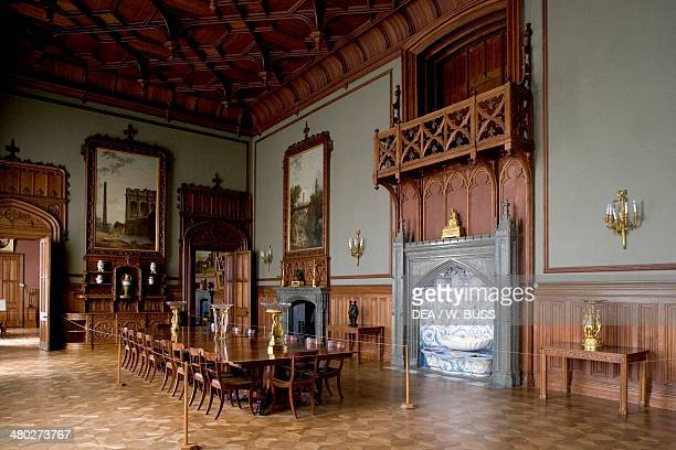 Tudor style Dining room in Vorontsov Palace 18281846 designed by Edward Blore Alupka near Yalta Crimea Ukraine